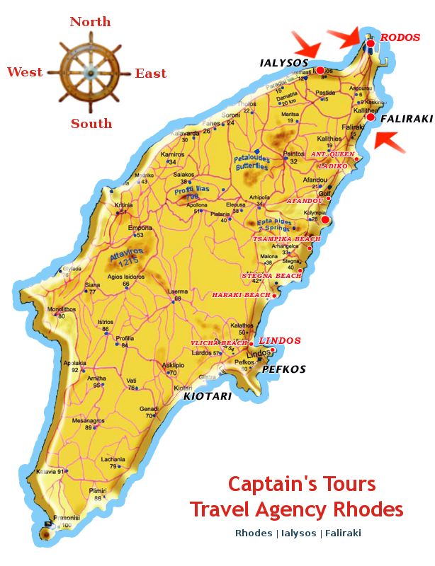 The red arrow are indicating, Captain's Tours Offices, on the island of Rhodes !